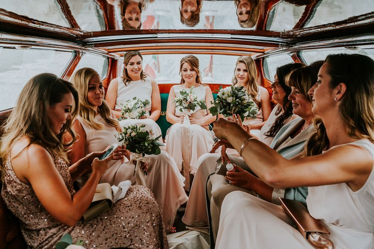 Boat Ride | Bridesmaids in Pink Maids to Measure Dresses | Super Luxe Greek Wedding at The Cipriani in Venice | Bridgwood Wedding Photography