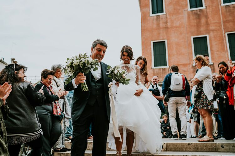 Bride in Romona Keveza Gown | Father of the Bride in Black Tuxedo | Super Luxe Greek Wedding at The Cipriani in Venice | Bridgwood Wedding Photography