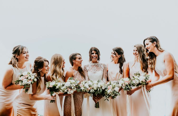 Bridesmaids in Pink Maids to Measure Dresses | Super Luxe Greek Wedding at The Cipriani in Venice | Bridgwood Wedding Photography