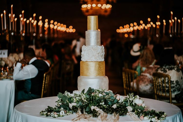 Six Tier Metallic Wedding Cake | Super Luxe Greek Wedding at The Cipriani in Venice | Bridgwood Wedding Photography
