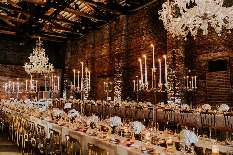 Candelabra Centrepieces | Super Luxe Greek Wedding at The Cipriani in Venice | Bridgwood Wedding Photography
