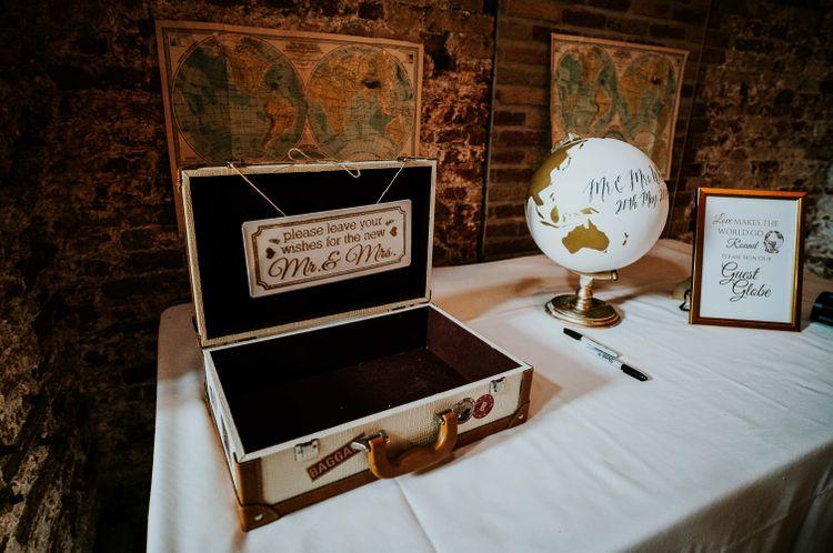 Card Box & Guest Globe Wedding Decor | Super Luxe Greek Wedding at The Cipriani in Venice | Bridgwood Wedding Photography