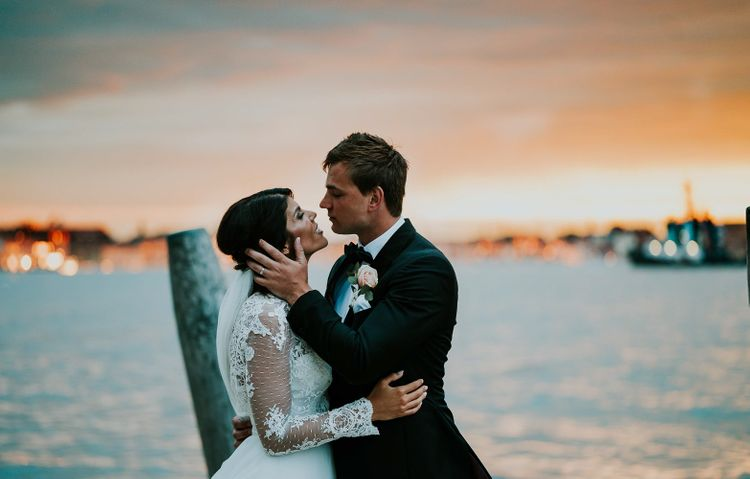 Bride in Romona Keveza Gown | Groom in Black Tuxedo | Super Luxe Greek Wedding at The Cipriani in Venice | Bridgwood Wedding Photography