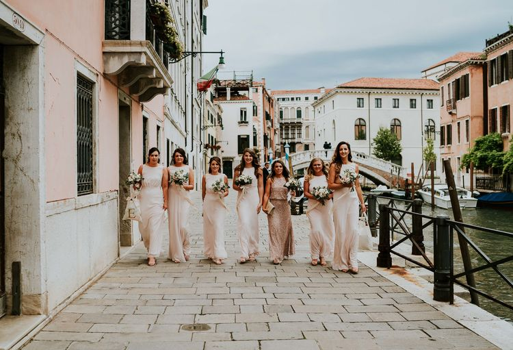 Bridesmaids in Blush Pink Maids To Measure Gowns | Super Luxe Greek Wedding at The Cipriani in Venice | Bridgwood Wedding Photography