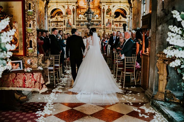 Wedding Ceremony at Greek Orthodox Church | Bride in Romona Keveza Gown | Super Luxe Greek Wedding at The Cipriani in Venice | Bridgwood Wedding Photography