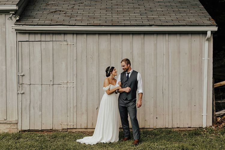 Jenny Yoo Bride For An Outdoor Farm Wedding In Maryland USA With Bridesmaids In Mismatched Dresses & Images From Erin Krespan