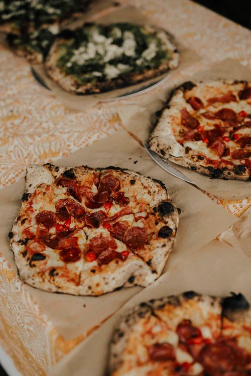 Pizza For Wedding Reception | Jenny Yoo Bride For An Outdoor Farm Wedding In Maryland USA With Bridesmaids In Mismatched Dresses & Images From Erin Krespan