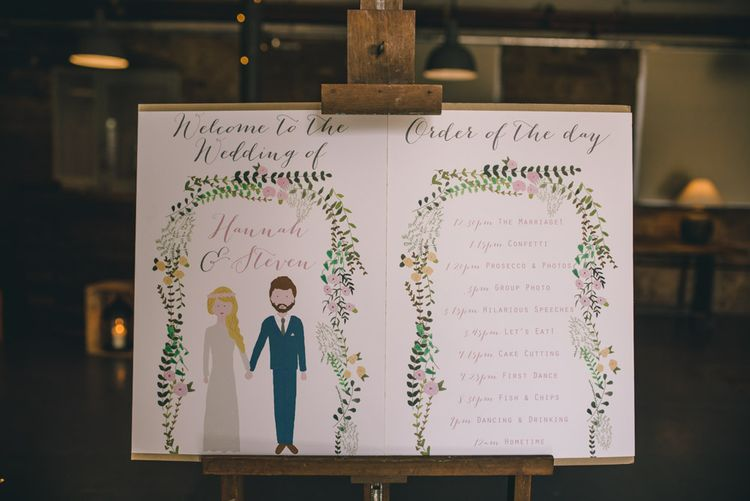 Welcome & Order of The Day Wedding Signs by Yellowstone Paper Works by Matt Brown Photography
