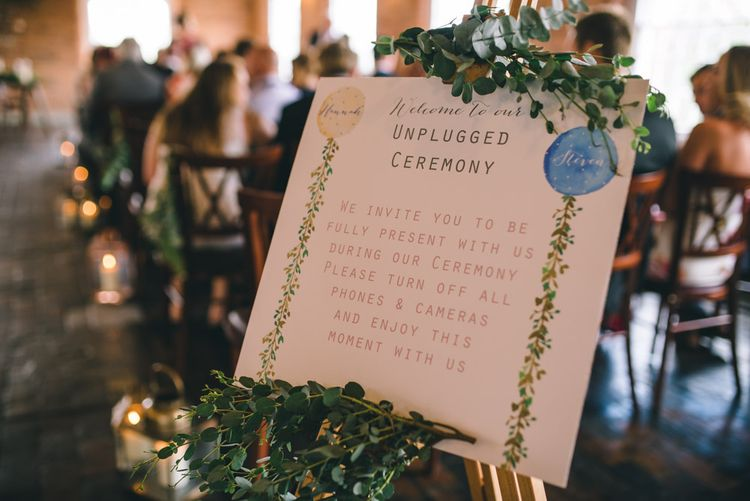 Unplugged Wedding Ceremony Sign by Yellowstone Paper Works by Matt Brown Photography