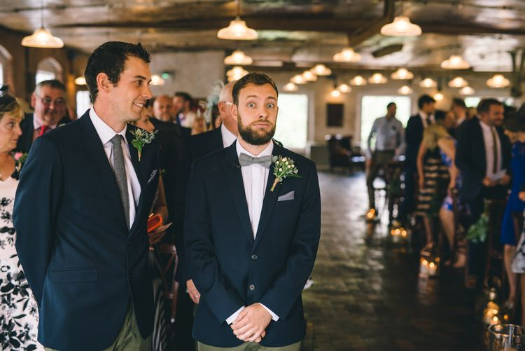 Groom in Slater Jacket & Topman Chino's at the Altar by Matt Brown Photography