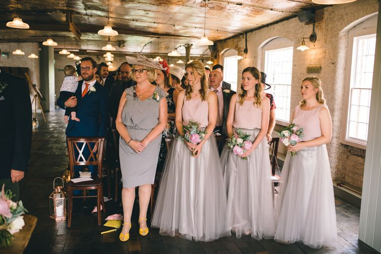 Bridesmaids in Grey Tulle Mariée Skirts & Dusky Pink Phase Eight Tops by Matt Brown Photography