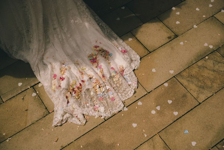 Bridal Train with Confetti by Matt Brown Photography