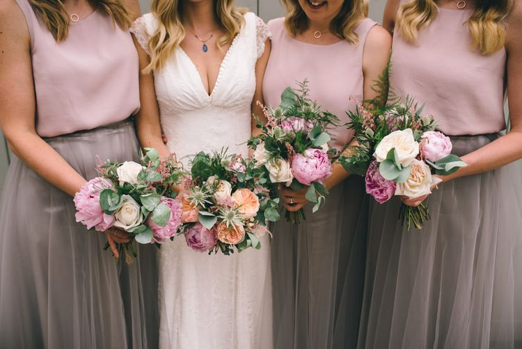 Pink Peony & Peach David Austin Rose Bouquets by Matt Brown Photography