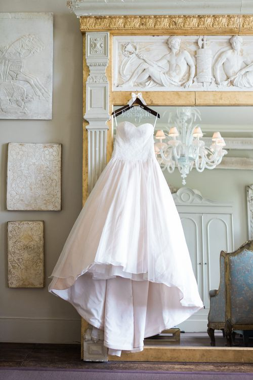 Blush Pink Sarah Bussey from Ivory & Co. Wedding Dress | Elegant Blush Pink & White Wedding at Aynhoe Park in Oxfordshire | Lucy Davenport Photography