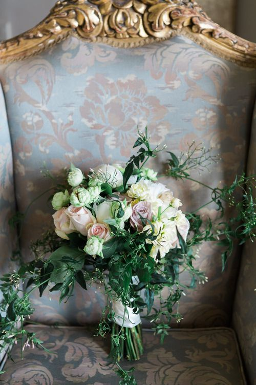 Romantic Rose & Foliage Bouquet | Elegant Blush Pink & White Wedding at Aynhoe Park in Oxfordshire | Lucy Davenport Photography