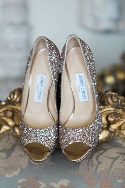 Jimmy Choo Sparkly Shoes | Elegant Blush Pink & White Wedding at Aynhoe Park in Oxfordshire | Lucy Davenport Photography