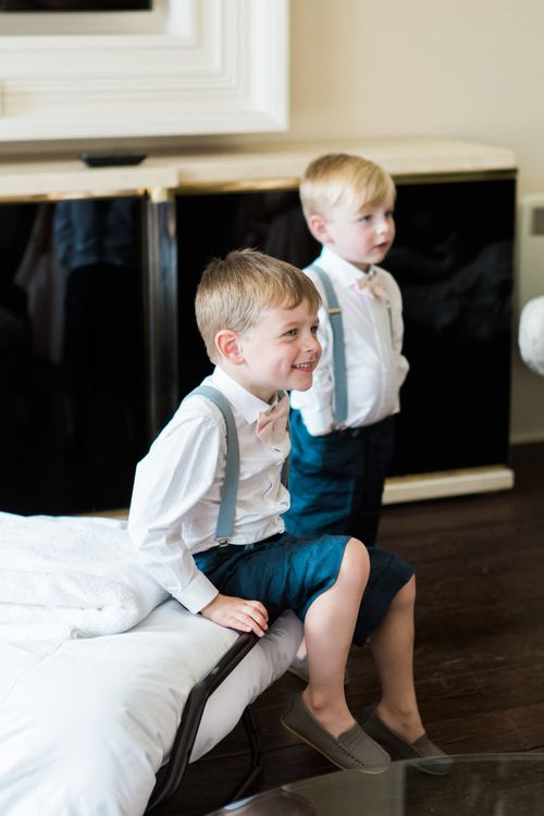 Page Boys in Shorts, Braces & Bow Ties | Elegant Blush Pink & White Wedding at Aynhoe Park in Oxfordshire | Lucy Davenport Photography