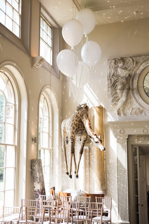 Hanging Giraffe | Elegant Blush Pink & White Wedding at Aynhoe Park in Oxfordshire | Lucy Davenport Photography