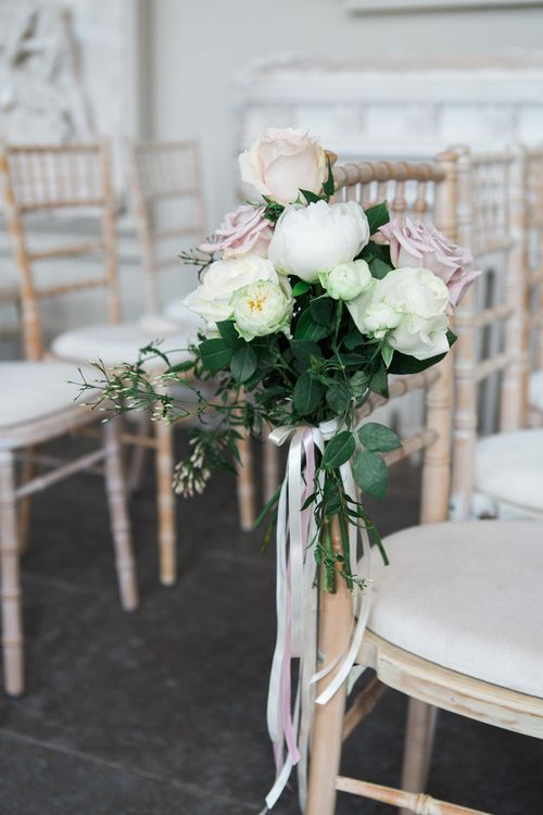 Aisle Chair Wedding Flowers | Elegant Blush Pink & White Wedding at Aynhoe Park in Oxfordshire | Lucy Davenport Photography