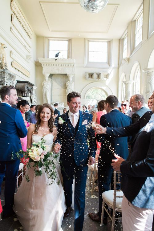 Wedding Ceremony | Bride in Sarah Bussey from Ivory & Co. Gown | Elegant Blush Pink & White Wedding at Aynhoe Park in Oxfordshire | Lucy Davenport Photography