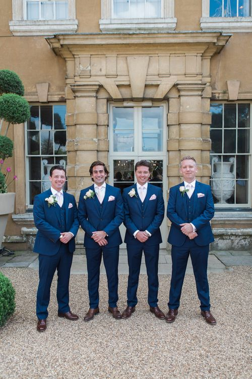 Groomsmen in Navy Blue Suits | Elegant Blush Pink & White Wedding at Aynhoe Park in Oxfordshire | Lucy Davenport Photography