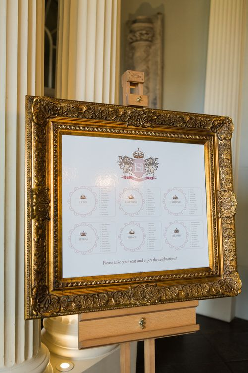 Gold Guilt Frame Table Plan | Elegant Blush Pink & White Wedding at Aynhoe Park in Oxfordshire | Lucy Davenport Photography