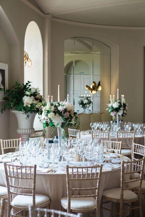 Reception | Wedding Breakfast | Elegant Blush Pink & White Wedding at Aynhoe Park in Oxfordshire | Lucy Davenport Photography