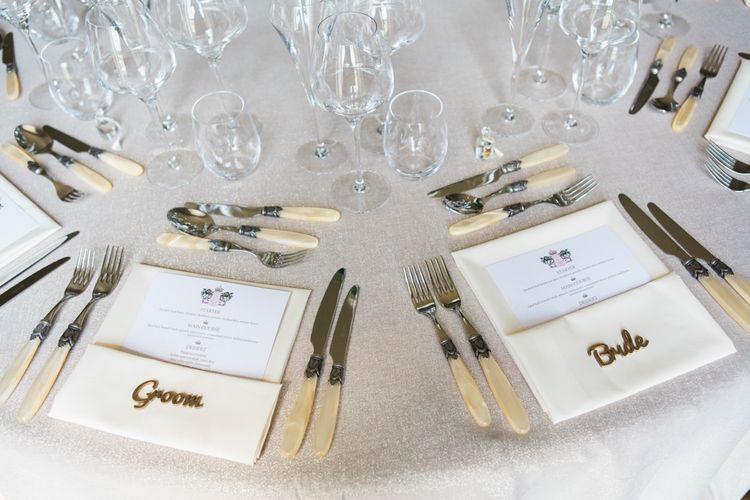 Ivory Cutlery Place Setting | Elegant Blush Pink & White Wedding at Aynhoe Park in Oxfordshire | Lucy Davenport Photography
