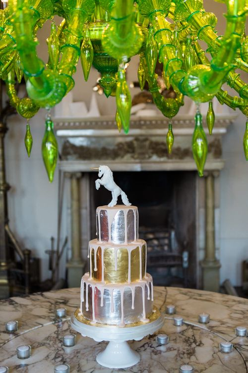 Metallic Dripping Wedding Cake | Elegant Blush Pink & White Wedding at Aynhoe Park in Oxfordshire | Lucy Davenport Photography