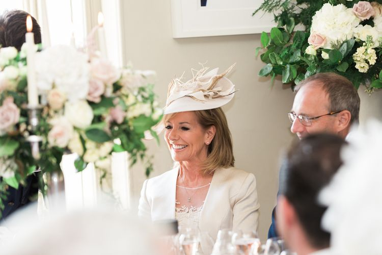 Wedding Guest Hat | Elegant Blush Pink & White Wedding at Aynhoe Park in Oxfordshire | Lucy Davenport Photography