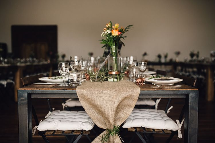 Hessian Table Runner & Copper Accents Table Scape