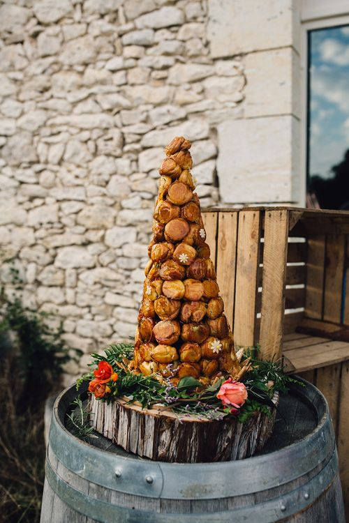 Traditional Croquembouche Wedding Cake | A Tower of Profiteroles filled with pistachio & chocolate creams