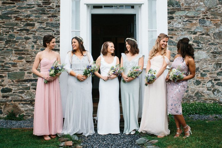 Rime Arodaky Bride For A Rustic Wild Flower Filled Wedding at Anran Devon With Mismatched Bridesmaids Dresses & Images From A Thing Like That Photography