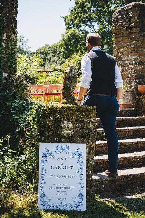 Delftware Inspired Stationery Suite By de Winton Paper co // Relaxed Summer Wedding At Hayne Devon With Bride In Temperley London And Bridesmaids In Embroidered Floral Dresses With Blue And White Delftware Design