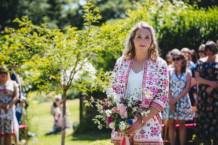 Relaxed Summer Wedding At Hayne Devon With Bride In Temperley London And Bridesmaids In Embroidered Floral Dresses With Blue And White Delftware Design