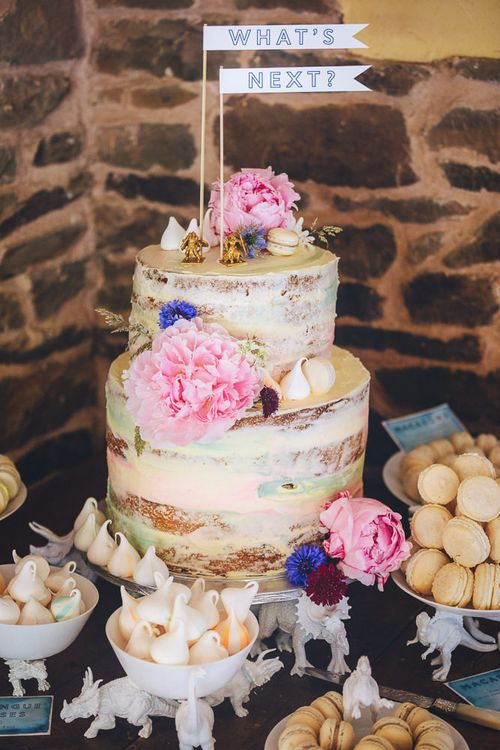Semi Naked Wedding Cake With Fresh Flowers // Relaxed Summer Wedding At Hayne Devon With Bride In Temperley London And Bridesmaids In Embroidered Floral Dresses With Blue And White Delftware Design