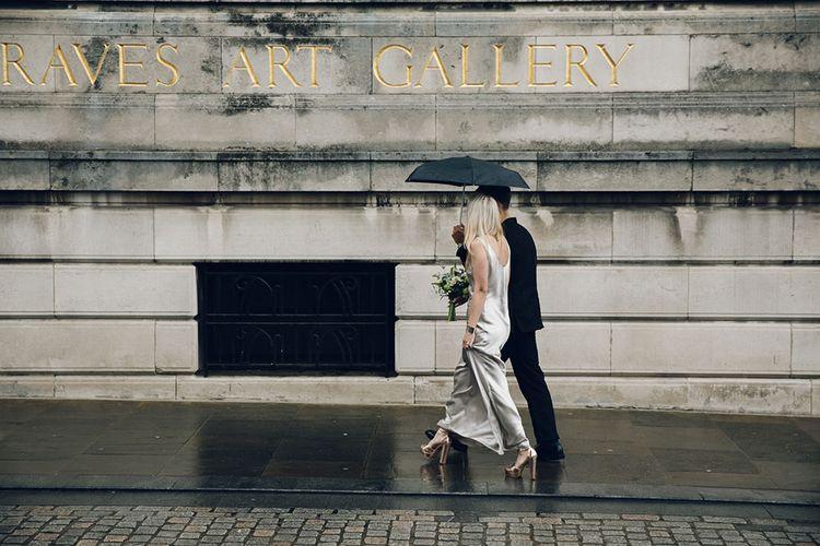 Metallic Floor Length Bridal Gown