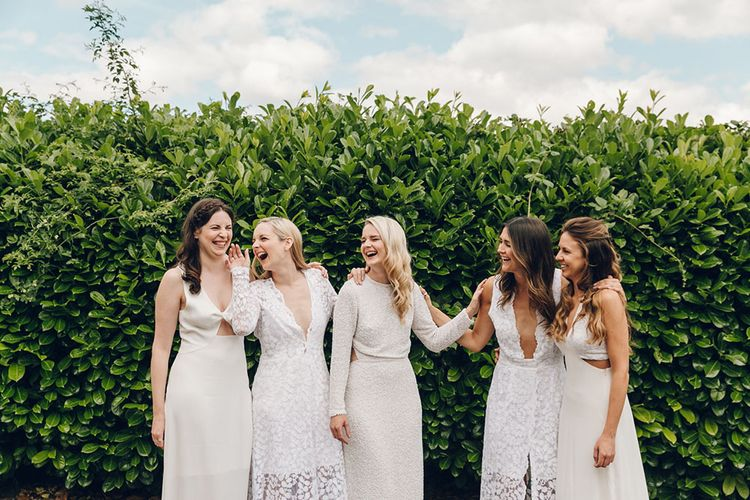 Bride & Bridesmaids in White by Harriet Holling Bridal
