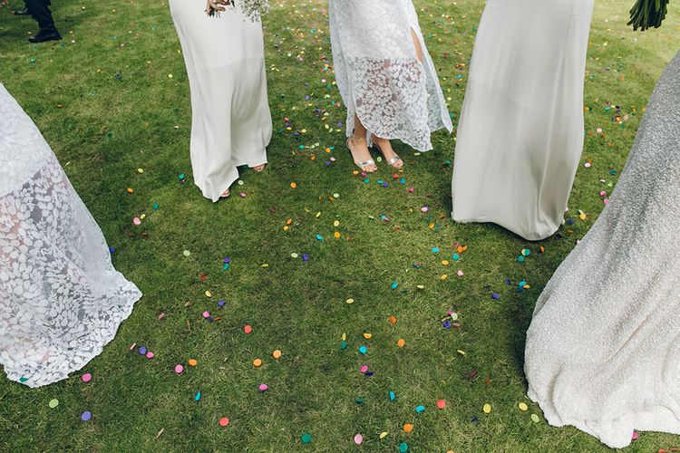 Bride & Bridesmaids in White Dresses by Harriet Holling