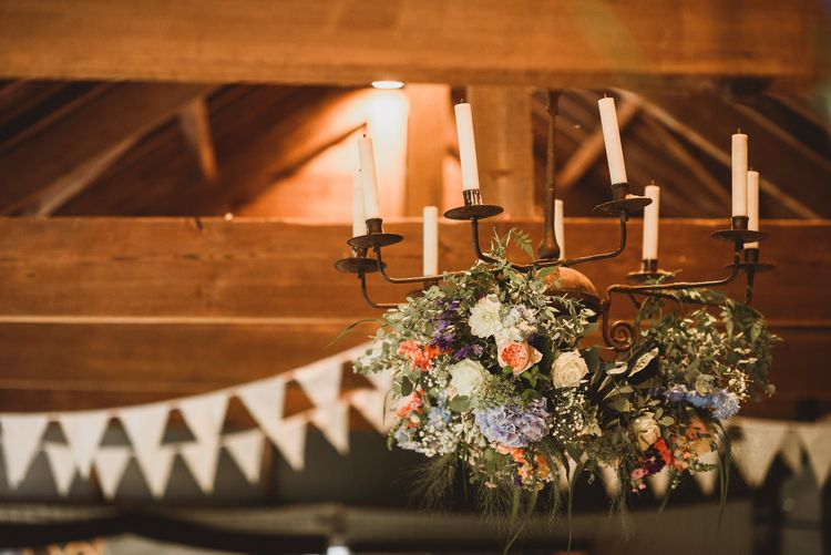 Flower Chandelier For A Rustic Wedding At Dewsall Court Herefordshire