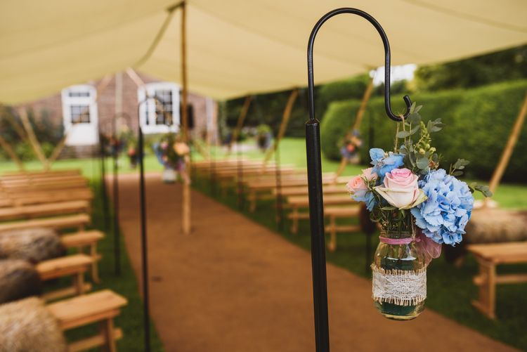 Outdoor Ceremony For A Rustic Wedding At Dewsall Court Herefordshire
