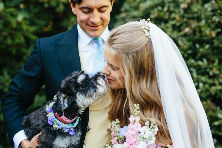 Bride & Groom With Puppy