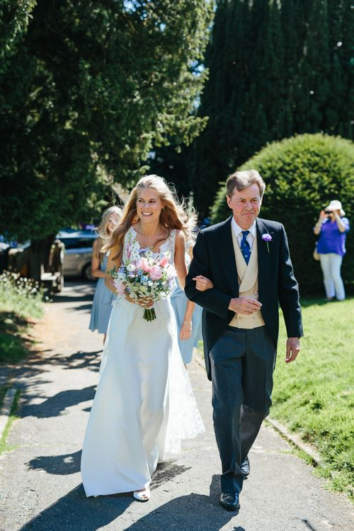 Bride & Her Father Arriving At Church