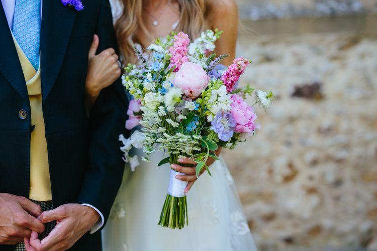 Wild Country Garden Wedding Bouquet In Pastel Tones