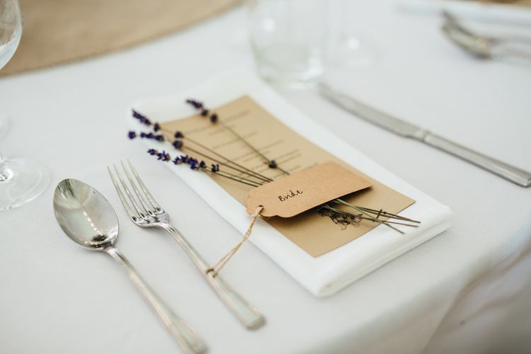 Rustic Place Setting With Lavender