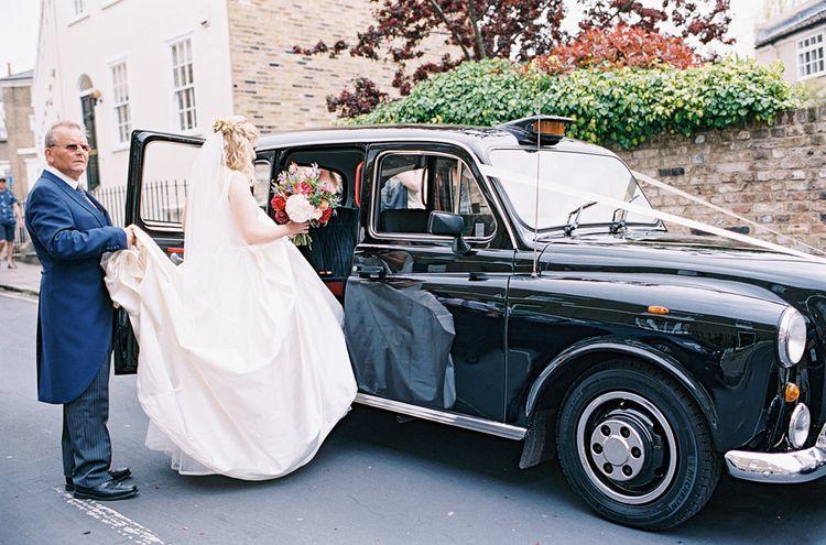 Bride in Sassi Holford Gown   Wedding Car   Classic Wedding at Trafalgar Tavern, Greenwich, London   Ann-Kathrin Koch Photography