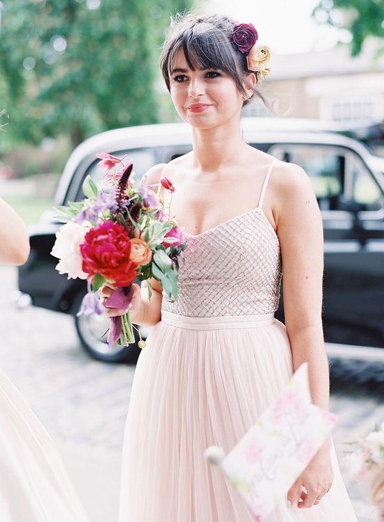 Bridesmaid in Blush Needle & Thread Dress   Classic Wedding at Trafalgar Tavern, Greenwich, London   Ann-Kathrin Koch Photography
