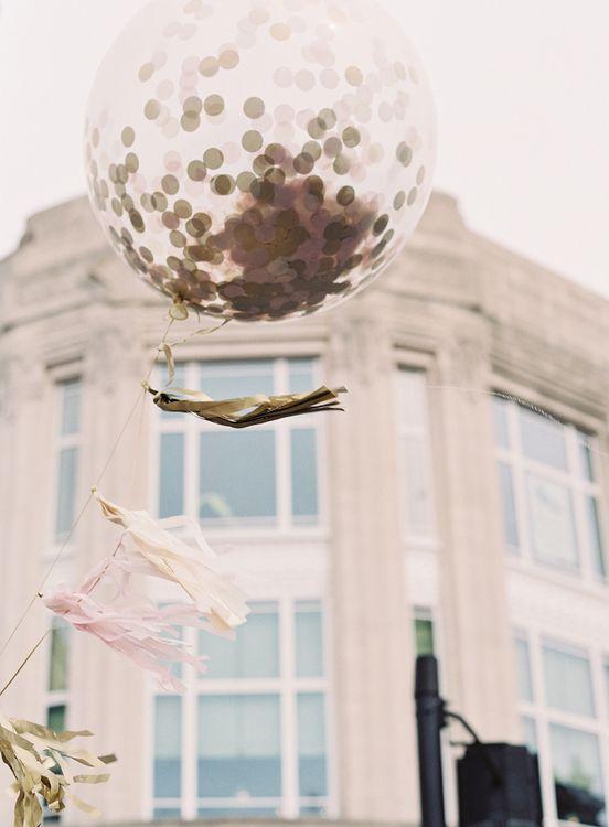 Giant Confetti Filled Balloon with Tissue Tassel   Classic Wedding at Trafalgar Tavern, Greenwich, London   Ann-Kathrin Koch Photography