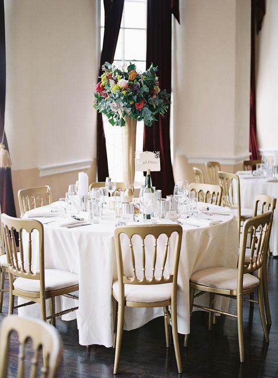 Tall Floral Centrepiece   Classic Wedding at Trafalgar Tavern, Greenwich, London   Ann-Kathrin Koch Photography