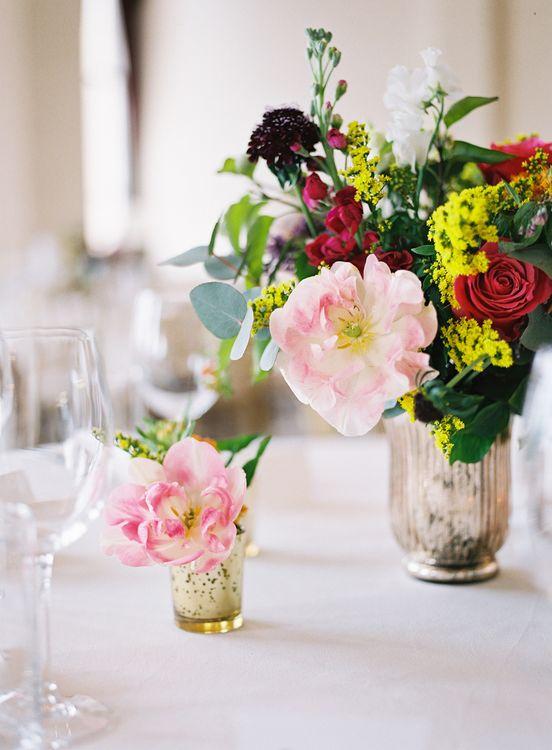 Flower Stems in Mercury Glass Votives   Classic Wedding at Trafalgar Tavern, Greenwich, London   Ann-Kathrin Koch Photography
